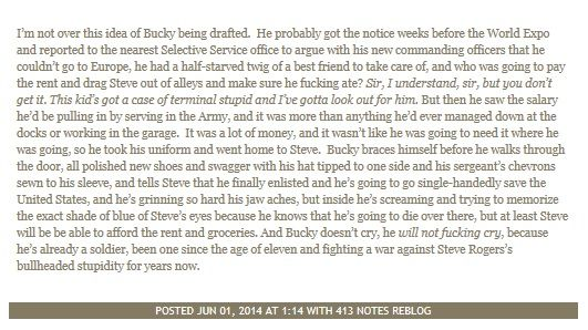 Follow up to the theory that Bucky didn't actually enlist in the army. <-fandom, please stop with the meta analysis. It is killing me.