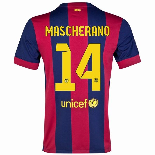 Barcelona Home Jersey (Official Nike) with Mascherano 14 - Size Youth Small