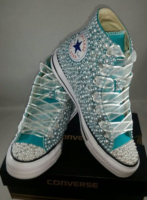 Bridal Converse Wedding Bling Pearls Custom Sneakers Personalized Chuck Taylors All Star Bride By Divineunlimited
