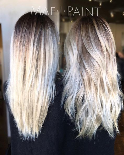 """Marissa Mae Neel on Instagram: """"•rooty platinum refresh• straight vs. curled• #maeipaint Always using @unite_hair for my styling products"""""""