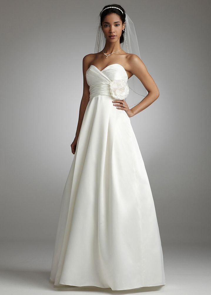 Satin A Line Gown with Empire Bodice Style EJ1M0143 Davids Bridal and it has pockets! Love the flower