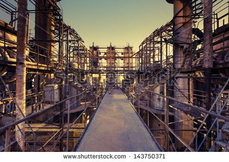 Chemical plant in the sunset.