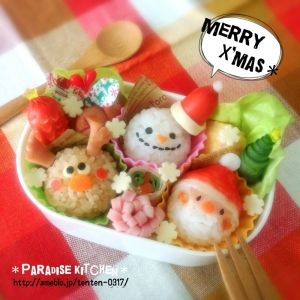 キャラ弁*簡単♪クリスマストリオ弁当