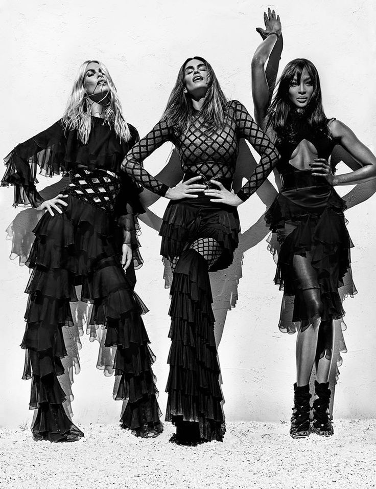 The most beautiful 90's icons Naomi Campbell, Claudia Schiffer and Cindy Crawford photographed by Steven Klein for Balmain spring - summer 2016 campaign.  Olivier Rousteing