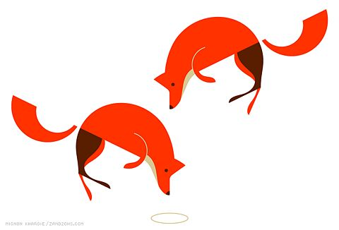 Duo of Foxes. V. Charley Harper.