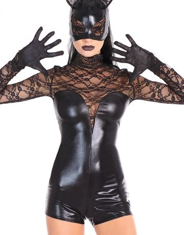 #Coquette   #StaySexy https://www.fifty-6.com/en/catalog/clothing/coquette/darque/cat-mask-0 Cod.: cqd2245 Cat Mask 1 PC. Wet look cat mask with lace eyes and ears. Color:Black Size: one size *Shown with: Gloves (CQD9284) Romper (CQD9296)