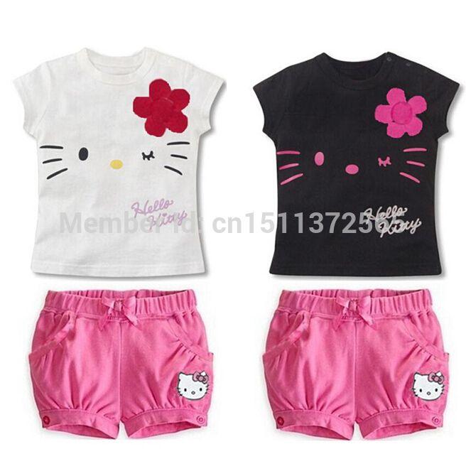 Купить товарДети Hello Kitty комплект девочки спорт одежда комплект младенцы дети одежда милый верхний тис рубашка шорты брюки в категории Комплекты одеждына AliExpress.                                     Продукты  Падение Доставка детей Hello KITTY уст