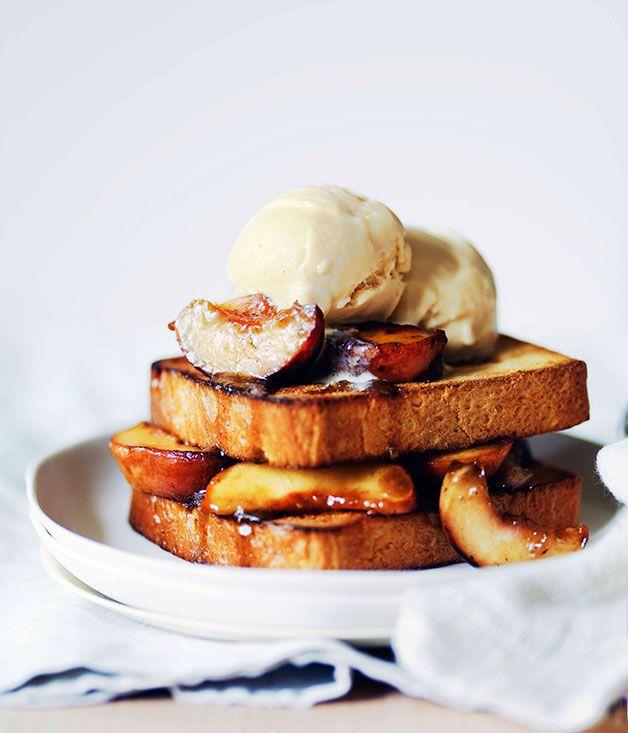Peach brioche toasties with malted milk ice-cream