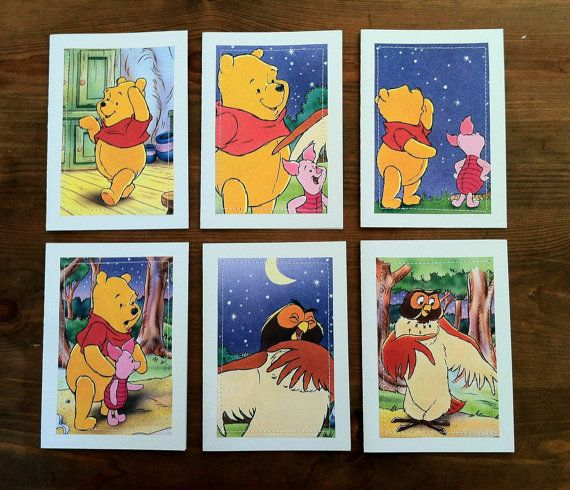 Winnie the Pooh  Greeting Cards set of 6  Owl's World book cutouts by MagpieSailor