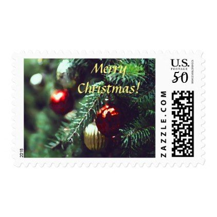 Pretty Old Fashioned Christmas Tree Ornaments Postage - Xmascards ChristmasEve Christmas Eve Christmas merry xmas family holy kids gifts holidays Santa cards