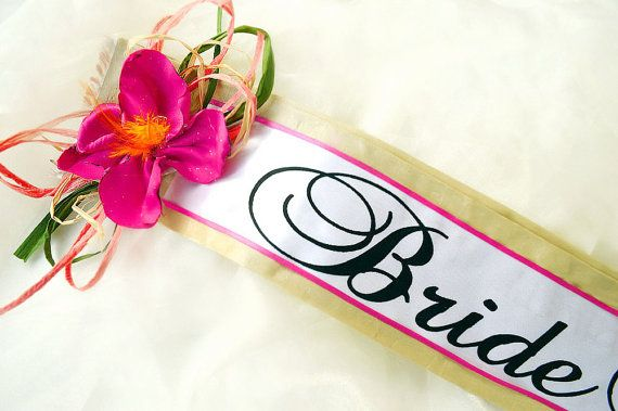 Hawaiian Floral Bridal Shower Sash   Bride To by YoursExquisitely, $29.99