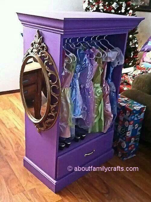 Dress-up storage - Might have a use for the dresser in our room!!  Paint it, put hooks on one side for her jewelry, and glue a mirror on the other side.  LOVE IT!!