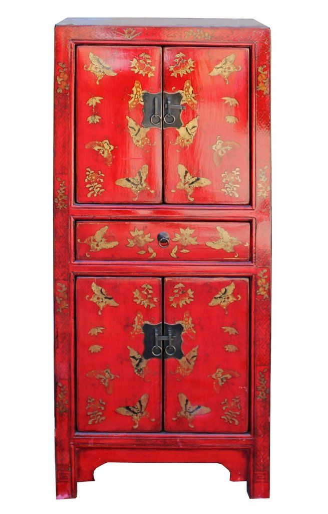 Chinese Distressed Glossy Red Golden Butterflies Cabinet Cs3935s Chinoiserie Decorating Red Furniture Oriental Furniture