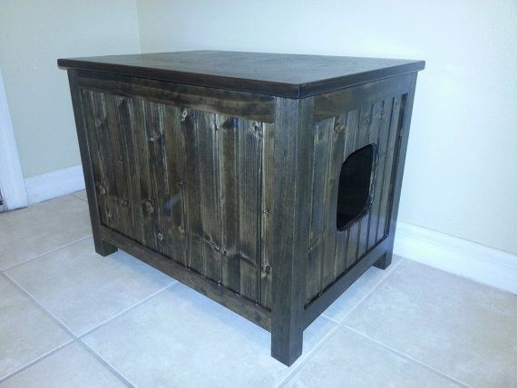 Small Odor Free Custom Hand Made In Usa Wood Cat Litter Box Cabin