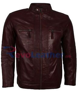 Mens Casual Wear Maroon Fashion Motorcycle Leather Jacket - SALE