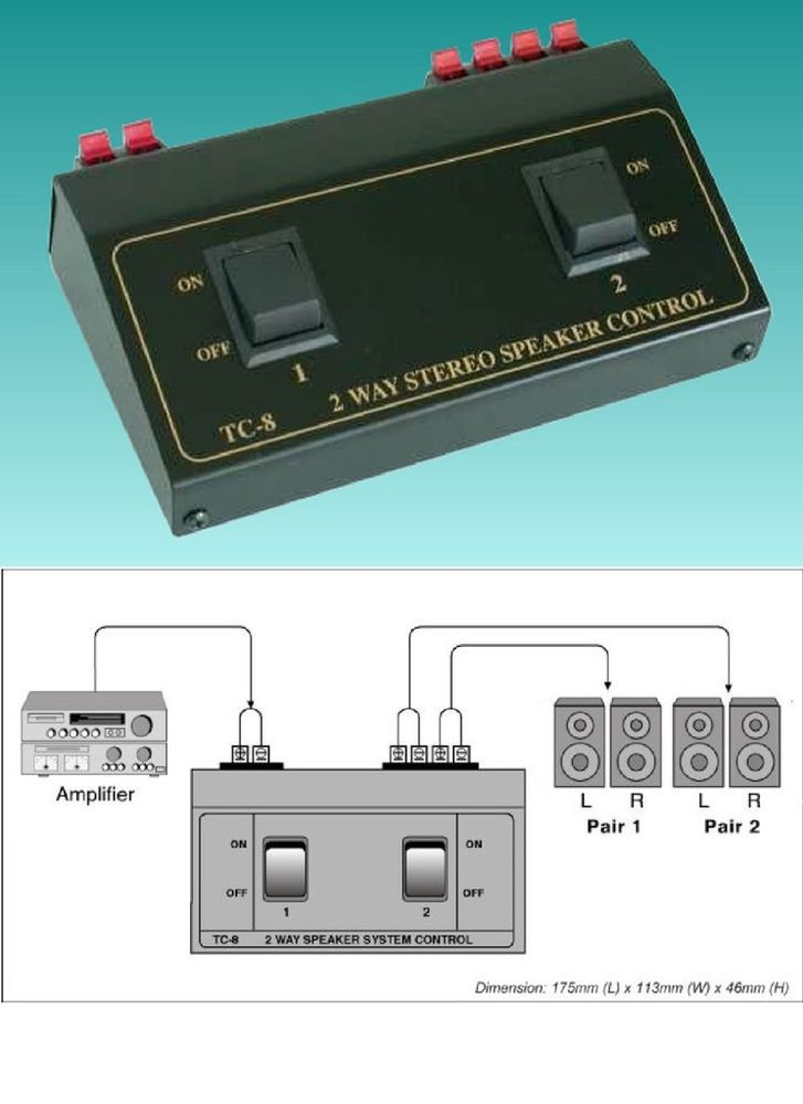 Details about 2 Way 4 Speaker Selector Switch Switcher