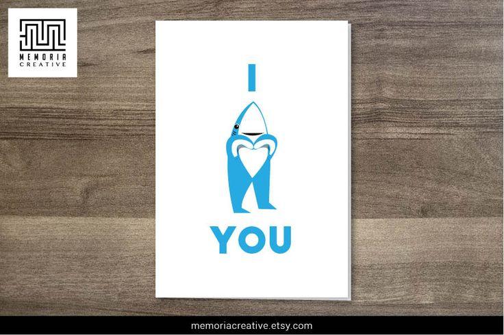 LEFT SHARK - Left Shark Card - I Love You Card - Happy Anniversary - Happy Birthday  https://www.etsy.com/listing/221379506/left-shark-left-shark-card-i-love-you #LeftShark #ILoveYouCard #LeftSharkCard