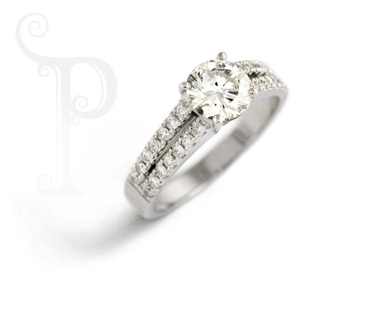 Handmade 18ct White Gold Split Shank Ring, Set With Small Round Brilliant Cut Diamonds