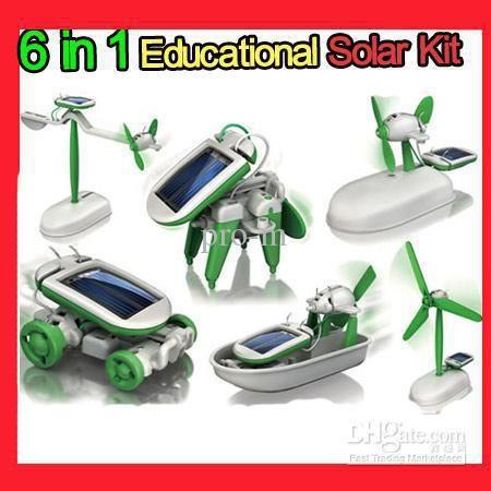 6 in 1 DIY Educational Solar Kit Solar Toys,Install Kit,revolving plane,airboat