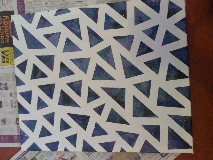 Galaxy geometric canvas painting.