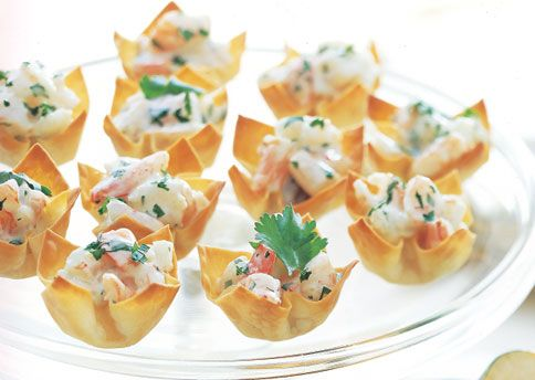 Mango-Curry Shrimp Salad in Wonton Cups   Recipe   Mango curry, Shrimp ...