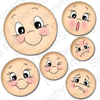 PK-490 Everyday Character Face Assortment: Peachy Keen Stamps | Home of the original clear, peach-tinted, high-quality whimsical face stamps.