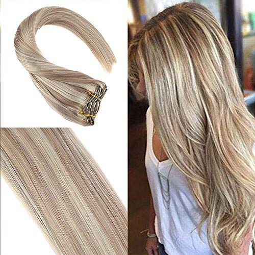 YoungSee 24inch Ash Blonde Clip in Hair Extensions…