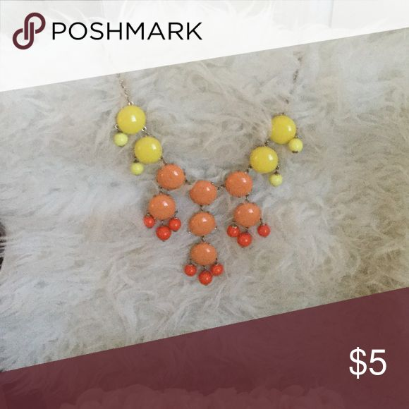 Bubble necklace Yellow, dark peach and orange/ coral beads.. All attached with gold chain necklace. 16 1/2 inch long necklace...with 3 inch adjustable chain. Accessories