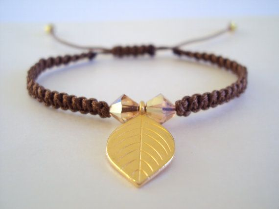 Dangly golden leaf macramé bracelet in chocolate brown with golden Swarovski crystals