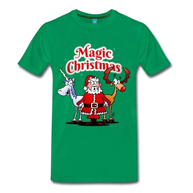 Kerst T-Shirt.  #kersttshirt #kerstmis #tshirt #kerstman #eenhoorn #unicorn #rendier #grappig #kado #kerstkado #kadoidee #Spreadshirt #Tekenaartje  De Kerstman, zijn rendier en een éénhoorn. Dat moet een Magic Christmas zijn. Kerstmis T-shirt design in full colour.