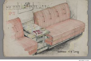 Design drawing, pencil on paper, lounge room items D,G,H,I,J for Dr C.E.Backwell, Geelong, design by Fred Ward for Myer Emporium, Melbourne, Victoria, late 1930s