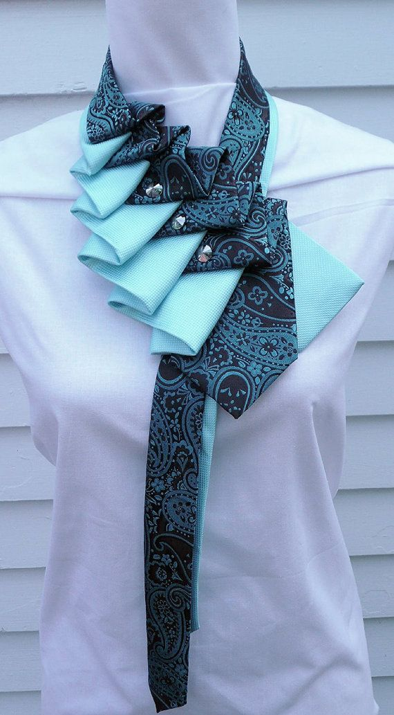 Paisley Silk ruffle tie scarf in teal and by TiedToPerfectionNH