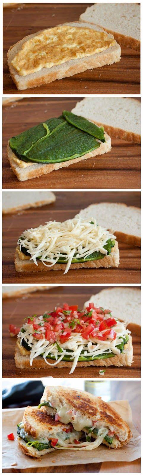Chile Relleno Grilled Cheese Sandwich. Monterey jack cheese.  Chile pasilla. Bread.  Eggs.
