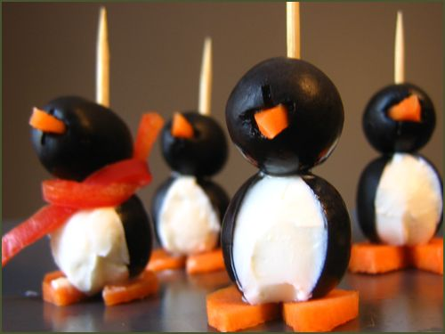 Olive and Cream Cheese Penguins