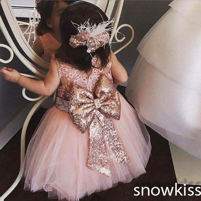 Forever Yours - cute mid-calf pink sheer lace back toddler flower girl dress kids beauty evening prom ball gowns baby birthday party frocks