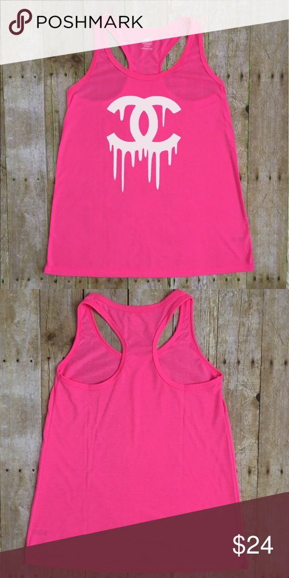 "Dripping C's Fashion Tank Dripping C's Flowy Racerback Tank Light Pink, Bright Pink Neon Color 20% Cotton 80% Polyester SIZE XS-2XL, Ladies  X-Small- 14.5"" width (underarm to underarm), 24"" length Small- 15.5 width, 25"" length Med - 15"" width, 25.5"" length  Large- 18"" width, 26"" length XLarge- 20"" width, 26"" length 2XL- 21"" width, 26.5"" length  Approximate measurements taken with shirt laid flat. Sizes XS-2XLarge. Custom top, no brand. Tops Tank Tops"