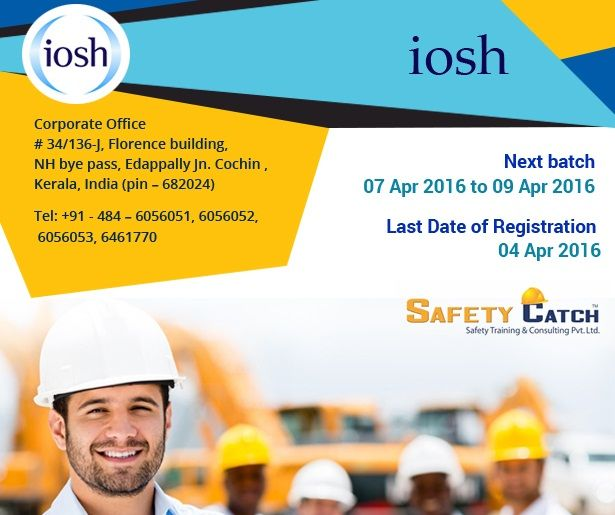 #IOSH is one of the best and recognized courses on #occupational safety, offered by Anil Gopinath-Safety Catch in #Chennai that makes students understand workplace safety and identify risks factors.