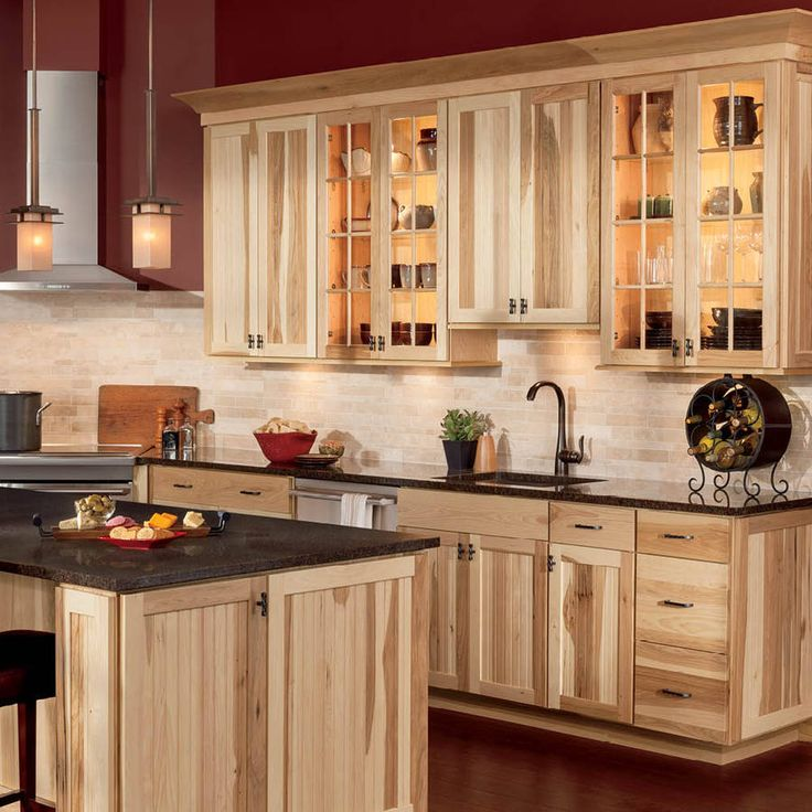 Shop Shenandoah Cottage 14.5-in x 14.5-in Natural Hickory Square Cabinet Sample at Lowes.com==Jan 2016 this is exactly color and style of cabinets I want. Just no glass all wood.