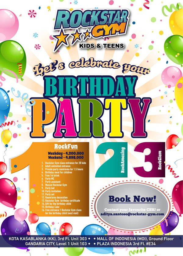 """Enjoy our 3 special different packages to celebrate your birthday, with private room party, special classes, interactive games, lots of fun in Rockstar Gym Water Park, and many more!   BOOK NOW and have FUN, AMAZING, GLAM birthday moment only in Rockstar Gym! Check out our last Birthday Party that we had arranged on """"Rockstar Gym Official"""" Youtube.   Please contact your favorite CSR to 29612708 KK, 29365155 MOI, 29008095 GC, 29923588 PI, or you can email to aditya.santoso@rockstar-gym.com"""