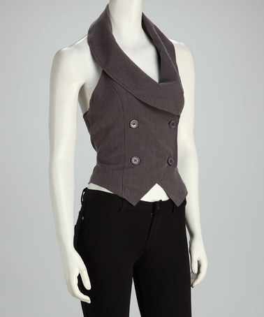 Take a look at this Gray Double-Breasted Halter Vest by Style Upgrade: Women's Apparel on #zulily today!