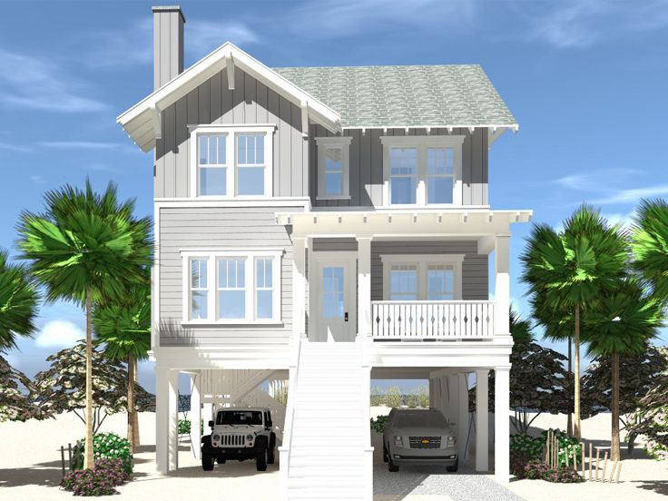 052h 0132 Two Story House Plan Fits A Narrow Beach Lot 2727 Sf Beach House Floor Plans Vacation House Plans Beach House Flooring