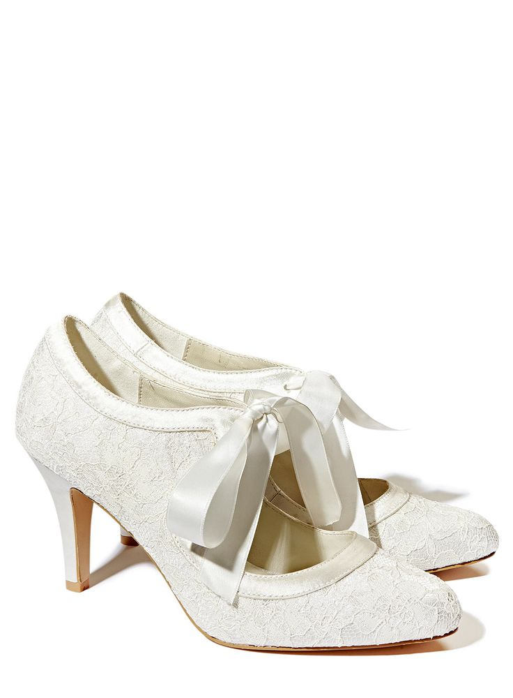 Ivory Wedding Collection Lace Court Shoe With Ribbon Tie