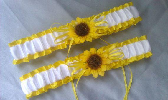 Sunflower Bridal Garter Set Sunshine Yellow White Wedding Garter.....maybe if we do sunflowers