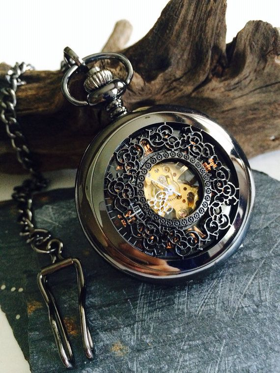 Black pocket watch- Mens Mechanical Pocket Watch Groomsmen gifts vs023 on Etsy, $53.98