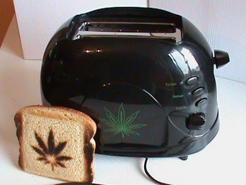 Marijuana Hemp Leaf Toaster via | www.motherhempproducts.com. Hahahahaahahaha. This is awesome