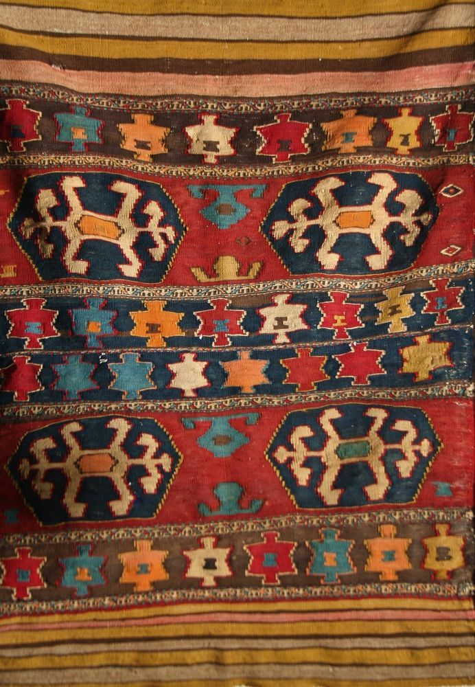 ANTIQUE SHIRVAN CAUCASIAN TRIBAL SUMAK KELIM #Tribal