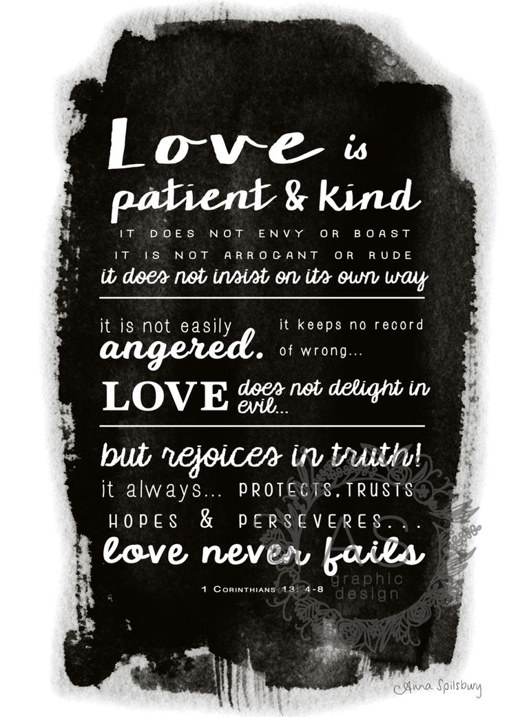 Love is Patient- 1 Corinthians 13:4-8 Black and White PRINTABLE ART, Instant Download by AnnaSpilsburyDesign on Etsy https://www.etsy.com/au/listing/484491189/love-is-patient-1-corinthians-134-8