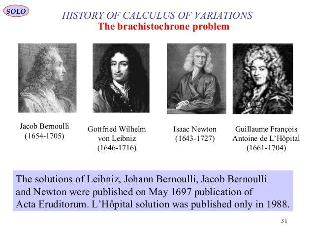 31 HISTOIRE DE CALCUL DES VARIATIONS Le problème de brachistochrone Jacob Bernoulli (1654-1705) Gottfried Wilhelm von Leibniz ...