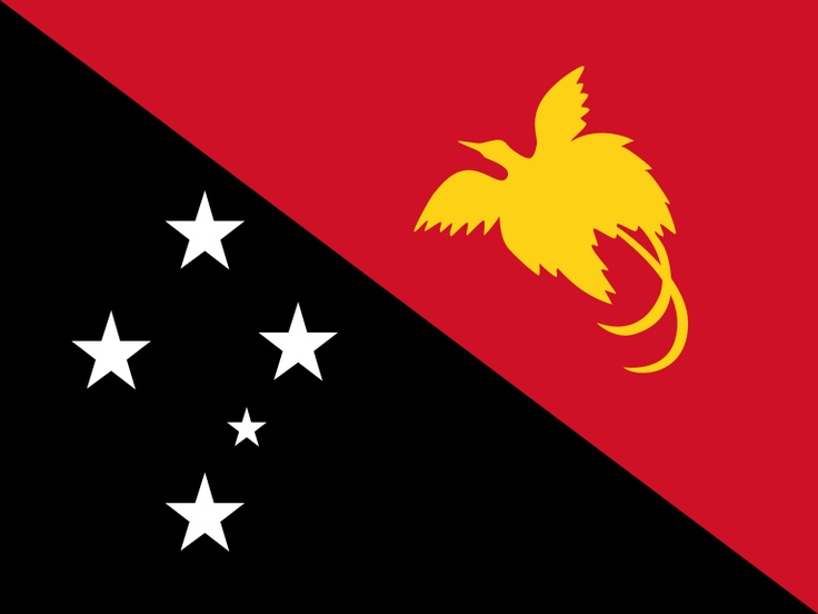 National flag of Papa New Guniea from http://www.flagsinformation.com/papua_new_guinea-country-flag.html  Divided diagonally from upper hoist-side corner; the upper triangle is red with a soaring yellow bird of paradise centered; the lower triangle is black with five, white, five-pointed stars of the Southern Cross constellation centered.