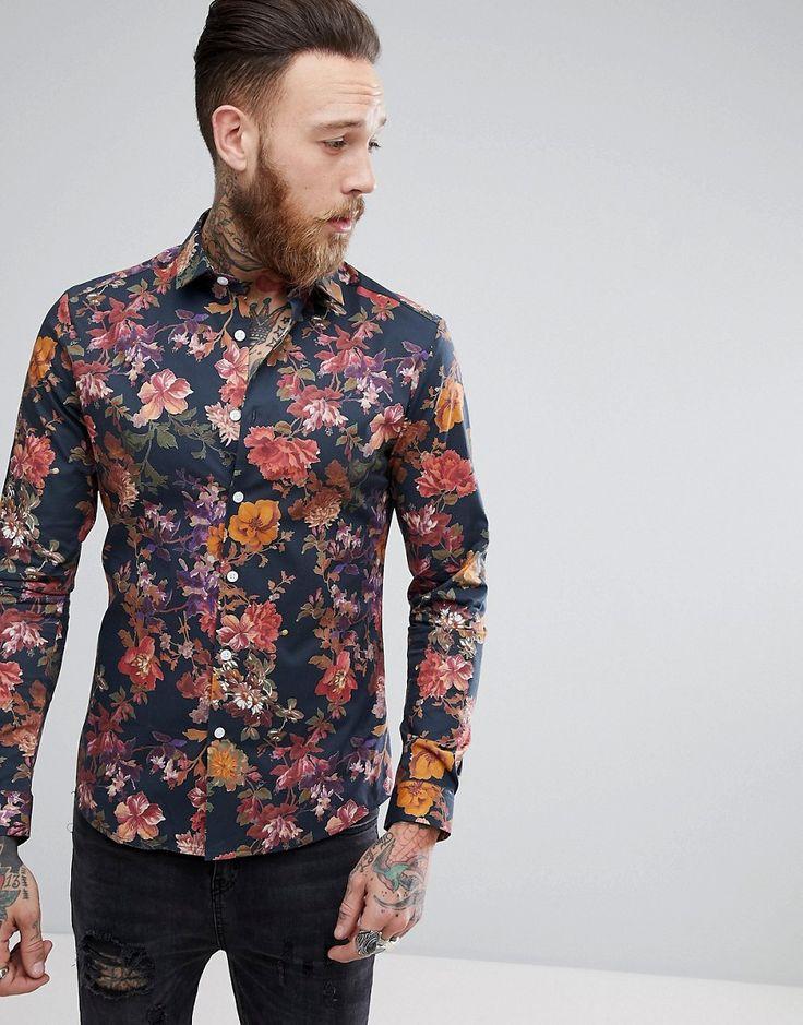 ASOS Skinny Floral Print Shirt - Navy